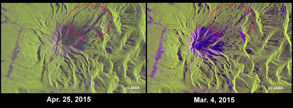 Fig3: The PALSAR-2 image of Calbuco volcano (the red box in the Figure 2). Left: observation with 3 m resolution mode (beam: U3-11, off-nadir angle: 42.7 degree) on April 25, 2015. Right: observation with 10 m resolution mode (beam: F2-5, off-nadir angle: 28.2 degree) on March 4, 2015.