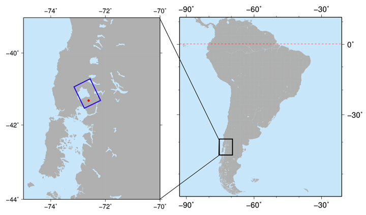 Fig.1: Observation area of the PALSAR-2 observation for Calbuco volcano on April 25, 2015. The red point and the blue box illustrate the location of Calbuco volcano and the observation area of PALSAR-2, respectively.