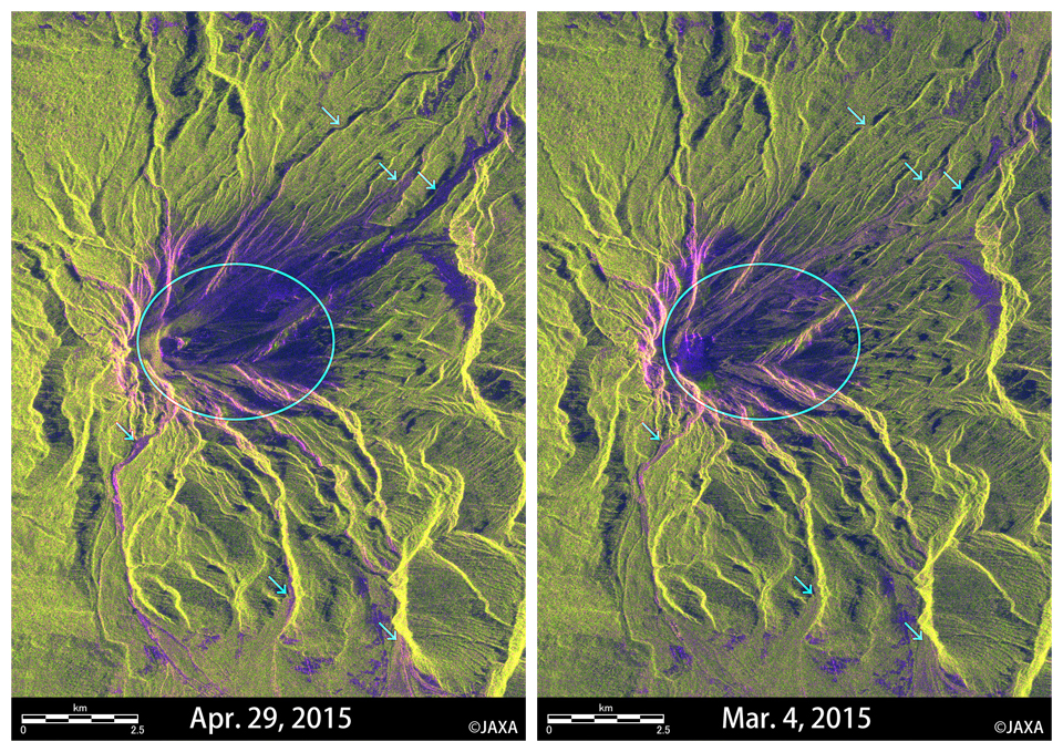 Fig.3: Enlarged images around Mt. Calbuco (the red box in the Figure 2). (Left) April 29, 2015, (Right) March 4, 2015.