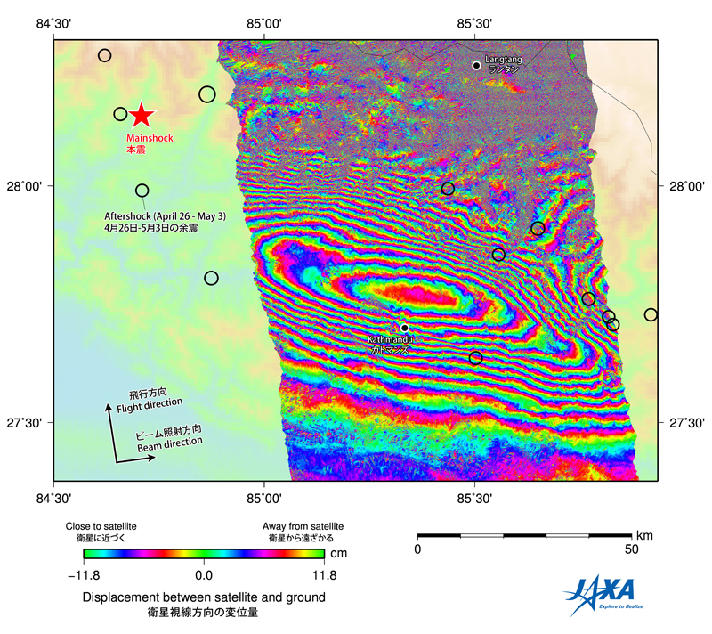 Fig.1: Interferogram obtained by the analysis of the ALOS-2 PALSAR-2 data acquired before (Feb. 21) and after (May 2) the quake.
