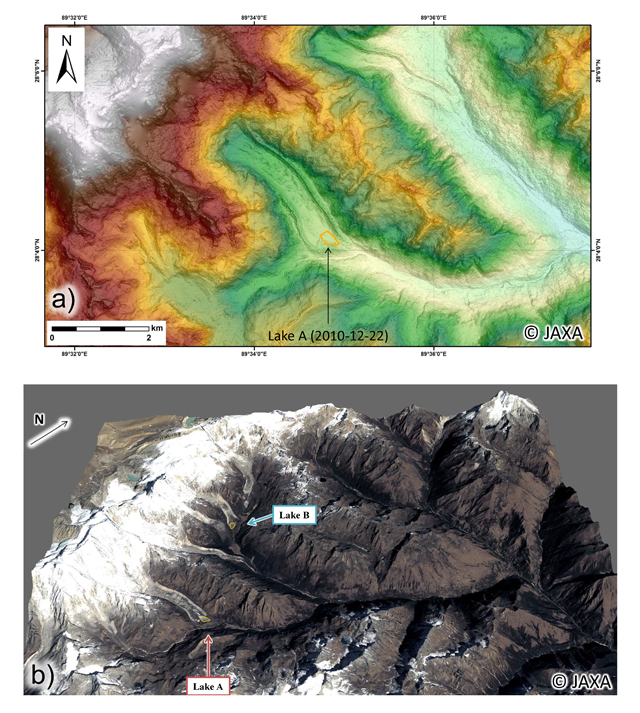 Fig.5: (a) Topography around Lake A derived from ALOS digital surface model (spatial resolution: 2.5m) and (b) 3D view around Lakes A and B derived from ALOS digital surface model and pan-sharpened imagery (Dec. 22, 2010).