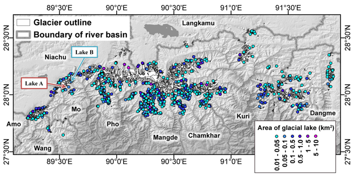 "Fig.1: Location of glacier lakes in the Bhutan Himalaya. Lake position and area are originated from  ""Glacial Lake Inventory of Bhutan using ALOS (Daichi) Data"""