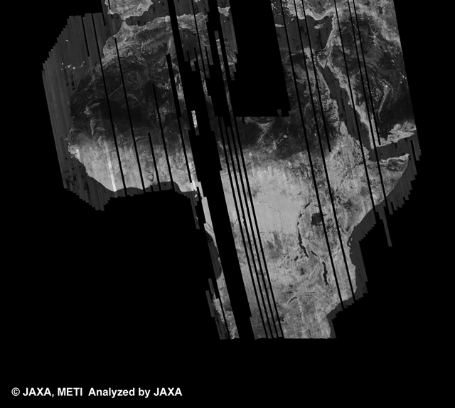 Fig. 1: PALSAR 500m Browse Mosaic (FBD/HH) of AFRICA for cycle35 (Apr. 30, 2010 ~ Jun. 14, 2010).