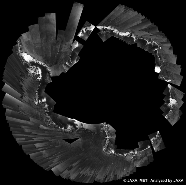 Fig. 4: PALSAR 500m Browse Mosaic (WB1/HH) of ANTARCTICA for cycle35 (Apr. 30, 2010 ~ Jun. 14, 2010).