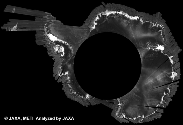 Fig. 3: PALSAR 500m Browse Mosaic (FBS/HH Ascending) of ANTARCTICA for cycle38 (Sep. 15, 2010 ~ Oct. 30, 2010).