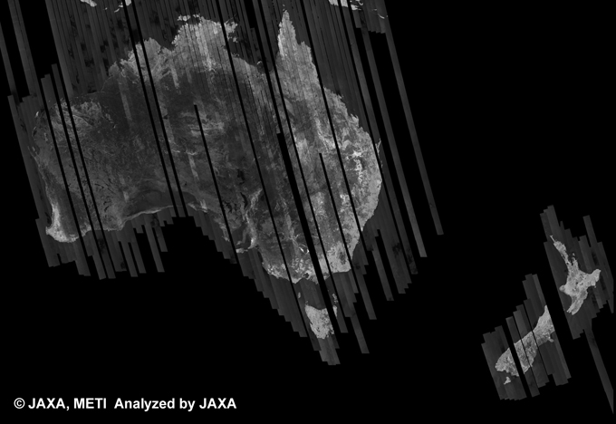 Fig. 8: PALSAR 500m Browse Mosaic (FBD/HH Ascending) of AUSTRALIA for cycle38 (Sep. 15, 2010 ~ Oct. 30, 2010).