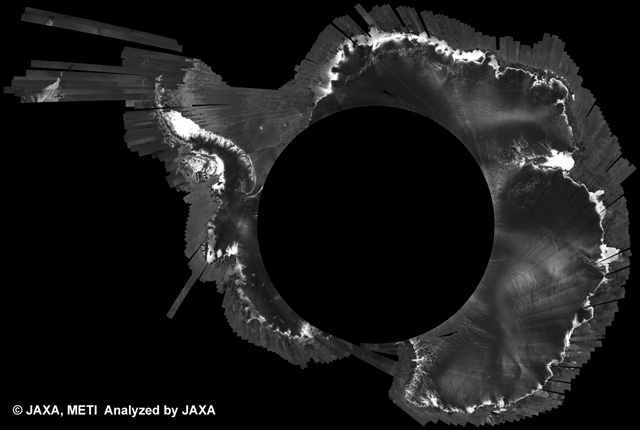 Fig. 4: PALSAR 500m Browse Mosaic (FBS/HH Descending) of ANTARCTICA for cycle39 (Oct. 31, 2010 ~ Dec. 15, 2010).