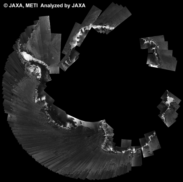 Fig. 5: PALSAR 500m Browse Mosaic (WB1/HH Descending) of ANTARCTICA for cycle39 (Oct. 31, 2010 ~ Dec. 15, 2010).