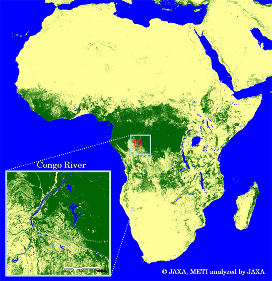 Fig.3-2: Forest/Non-forest map in a typical tropical area (the enlarged images of Africa)