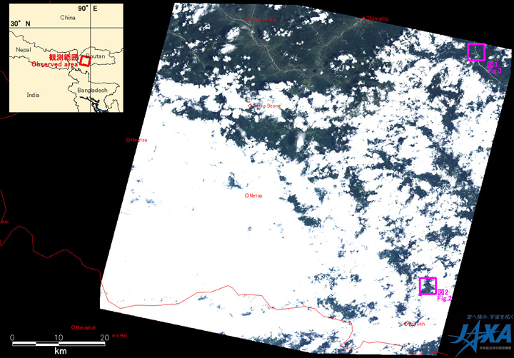 Fig. 1: AVNIR-2 image with -11 degrees pointing angle acquired on 13:54 (JST) on Jul. 25, 2010. Pink squares show locations of Figs. 2 to 3.