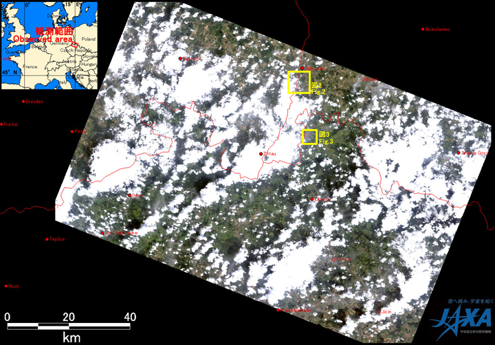 Fig.1: AVNIR-2 image with 37.0 degrees pointing angle acquired at 19:43 on August 10, 2010 (JST). Yellow squares show location of Figs. 2 and 3.