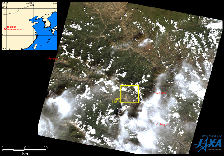 Fig.1: AVNIR-2 image with -4.0 degrees pointing angle acquired at 12:51 on August 24, 2010 (JST). Yellow square shows location of Fig. 2.