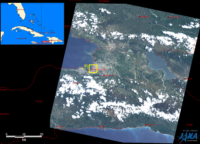 Fig. 1: AVNIR-2 image with 0.0 degree pointing angle acquired at 0:28 on June 11, 2010 (JST). A yellow square shows location of Fig.2.