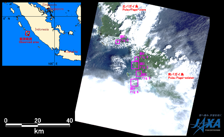 Fig.1: AVNIR-2 image with 0.0 degrees pointing angle acquired at 12:45 on October 28, 2010 (JST). Purple squares show location of Figs. 2 and 6.