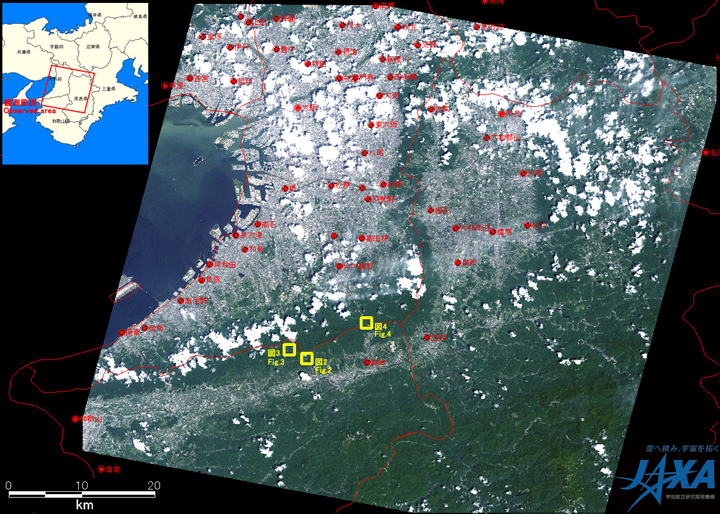 Fig. 1: AVNIR-2 image with -8 degrees pointing angle acquired on 10:45 (JST) on Jul. 18, 2010. Yellow squares show locations of Figs. 2 to 4.
