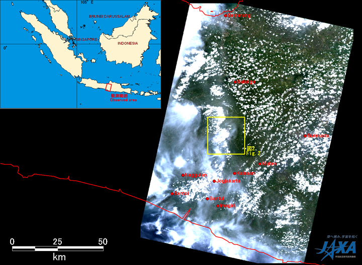 Fig.1: AVNIR-2 image with -26.0 degree pointing angle acquired at 11:49 on October 29, 2010 (JST). Yellow squares show location of Figs. 2.