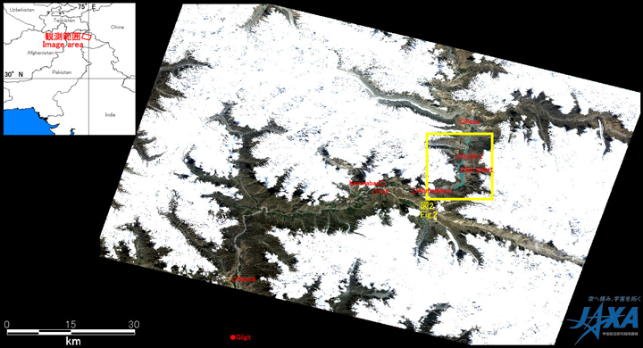 Fig. 1: AVNIR-2 image with 33.5 degrees pointing angle acquired on 6:17 of May 30, 2010 (UTC). Yellow square shows the location of Fig. 2.