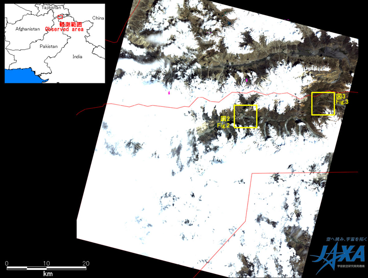 Fig.1: AVNIR-2 image with 0.0 degree pointing angle acquired at 15:02 on August 3, 2010 (JST). Yellow squares show location of Figs. 2 and 3.