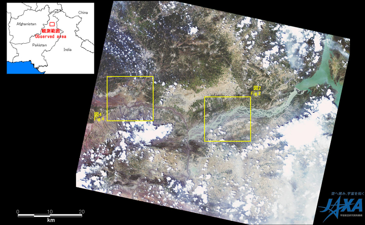 Fig.1:AVNIR-2 image with -28.0 degrees pointing angle acquired at 14:44 on August 5, 2010 (JST). Yellow squares show location of Figs. 2 and 4.