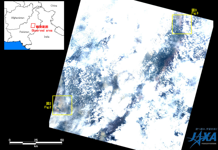 Fig.1: AVNIR-2 image with 38.0 degrees pointing angle acquired at 15:18 on August 6, 2010 (JST). Yellow squares show location of Figs. 2 and 3.