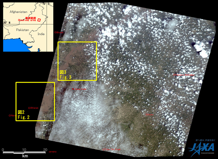 Fig.1:AVNIR-2 image with 0.0 degree pointing angle acquired at 14:46 on August 15, 2010 (JST). Yellow squares show location of Figs. 2 and 3.