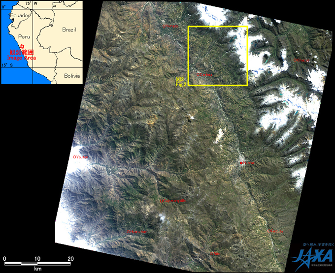 Fig. 1: AVNIR-2 image with 0.0 degree pointing angle acquired on 0:35 of May 25, 2010 (JST). Yellow square shows the location of Fig. 2.