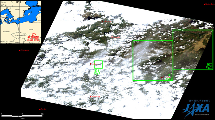 Fig. 1: AVNIR-2 image with +14.0 degrees pointing angle acquired on 9:59 of May 21, 2010. Green squares show locations of Figs. 2 to 4.