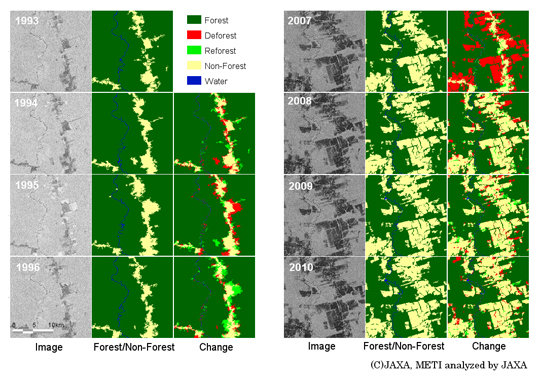 Figure 4: Forestry change over time in the State of Para, Amazon between 1993 and 2010 (C) JAXA. From the image, Forest/Non-forest, forest change. Red indicates forest reduction and light green shows forest recovery. The location is at a south latitude around 8 degrees and west longitude around 55 degrees.
