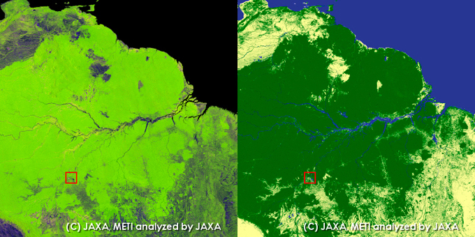 Porto Velho, Rondonia, Brazil. left: PALSAR 10m Mosaic Image, right: Global Forest/Non-forest map.