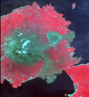 Sakurajima Island, Kagoshima Pref., Japan on Jun. 20, 2006(False color combination using R,G,B=Band4,3,2 of AVNIR-2).