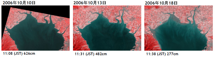 Fig.3. Zoom-up of the northern Ariake sea on October 10, 13, and 18. They are assigned the near-infrared channel to R of RGB and assigned the red channel to G and B.
