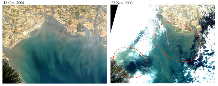 Fig. 5. RGB images of the northern Ariake Sea on Oct. 18, 2006 and Nov. 25 by AVNIR-2 (true color image)