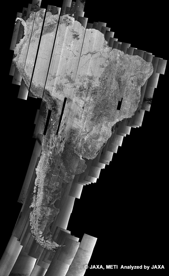 Fig. 1: PALSAR 500m Browse Mosaic (South America) for cycle 21 (July 25 ~ Sept 8, 2008)