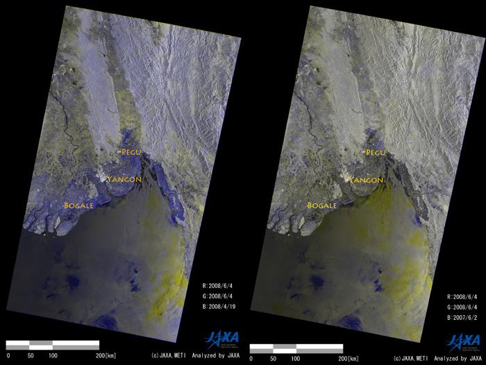 In order to highlight land surface changes, color composite images are created. Fig.2 left is a color composite representing the change between Apr. 19 and June 4, 2008, where the June 4 image is allocated in RED and GREEN channels and the April 19 in a BLUE one. BLUE color in the figure shows the flooded area expected and it spread out 20-100km inland from the coasts. As expected, a similar pattern is derived from the composite using the 2007 images (not shown). Here, in order to highlight the difference between June 2007 and 2008, the color composite is created by using the June 2, 2007 and June 4, 2008 images (Fig.2 right). The image shows some BLUE areas spreading especially around the river mouth of Irrawaddy and north of Pegu, which suggests that these areas are flooded in June 2008 different from in June 2007.