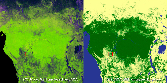 Congo River. left: PALSAR 10m Mosaic Image, right: Global Forest/Non-forest map.