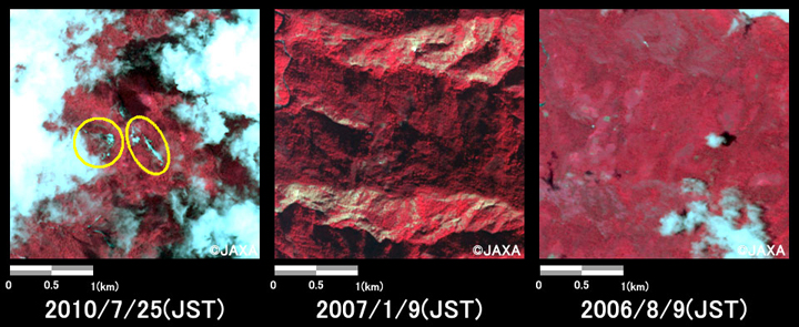 Fig.2: Enlarged images of southwest part of Tsirang pref., Buhtan. (9 square kilometers, left: Jul. 25, 2010; center: Jan. 9, 2007; right: Aug. 9, 2006).