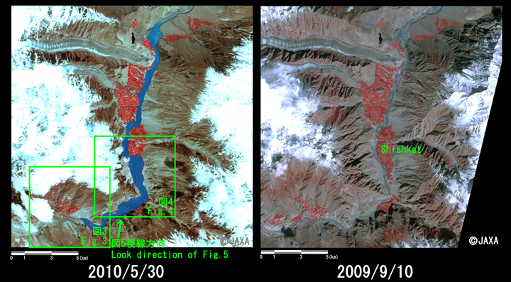 Fig. 2: Enlarged image of the dammed lake around Shishkat Village (left: May 30, 2010; right: Sep. 10, 2009; Green squares shows locations of Figs. 3 and 4 , and a arrow shows a point of view for Fig. 5)