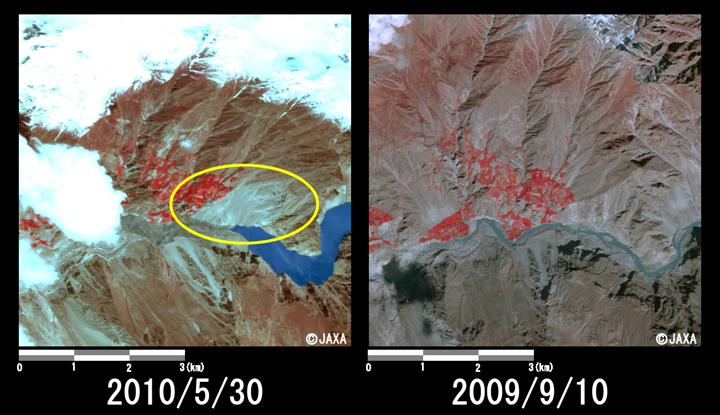 Fig. 3: Enlarged image of the end of the dammed lake corresponds to the site of landslide (6 km squares, left: May 30, 2010; right: Sep. 10, 2009).