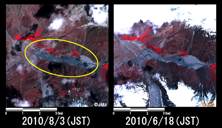 Fig.2: Enlarged image at the swollen river in Kan Khun (36 square kilometers, left: August 3, 2010; right: June 18, 2010).