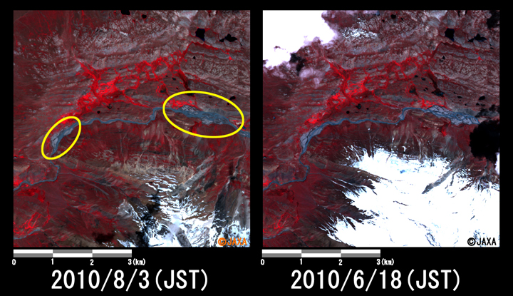 Fig.3: Enlarged image at the swollen river in Pechus (36 square kilometers, left: August 3, 2010; right: June 18, 2010).