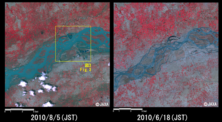 Fig.2: Enlarged image at the swollen river at Kamra, Attock District, Punjab Province (324 square kilometers, left: August 5, 2010; right: June 18, 2010).