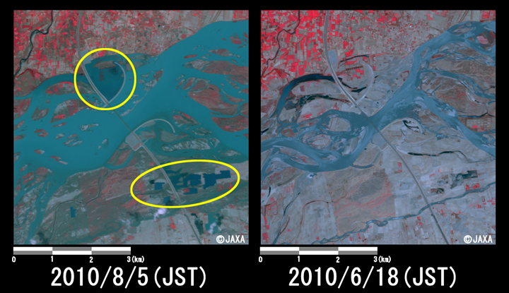 Fig.3: Enlarged image at the swollen river at Kamra, Attock District (36 square kilometers, left: August 5, 2010; right: June 18, 2010).