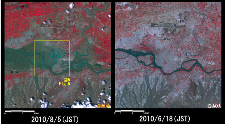 Fig.4: Enlarged image at the swollen river in Nowshera District, Khyver Pakhtunkhwa Province (324 square kilometers, left: August 5, 2010; right: June 18, 2010).