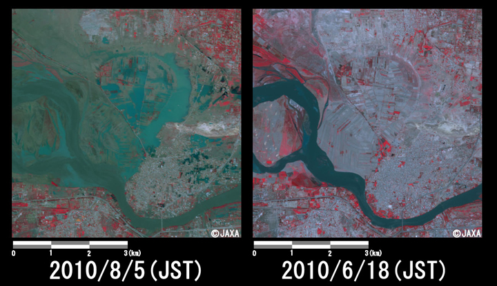 Fig.5: Enlarged image at the swollen river in Nowshera District (36 square kilometers, left: August 5, 2010; right: June 18, 2010).