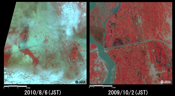 Fig.2: Enlarged images of the swollen rivers at Shadan Lund (324 square kilometers, left: August 6, 2010; right: October 2, 2009).