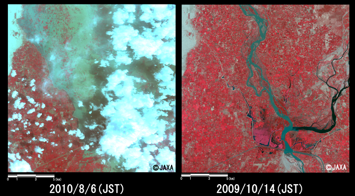 Fig.3: Enlarged images of the swollen rivers at Alhara Hazari (36 square kilometers, left: August 5, 2010; right: June 18, 2010).