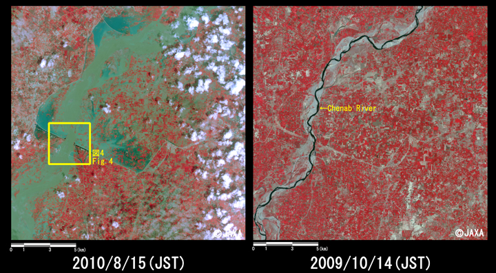 Fig.3: Enlarged images of the swollen rivers at Chund Bharwana (324 square kilometers, left: August 15, 2010; right: October 14, 2009). Yellow box shows location of Fig. 4.