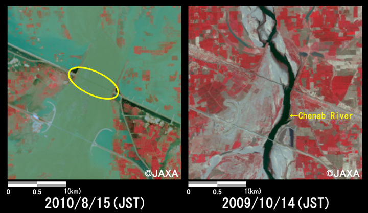 Fig.4: Enlarged images of the bridges at Chund Bharwana (9 square kilometers, left: August 15, 2010; right: October 14, 2009).