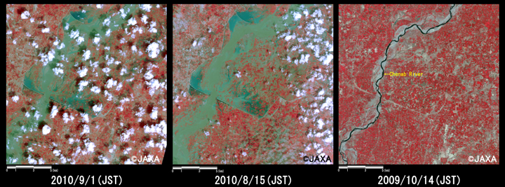 Fig.2: Enlarged images of the swollen rivers at Chund Bharwana (324 square kilometers, left: September 1, 2010; middle: August 15, 2010; right: October 14, 2009).