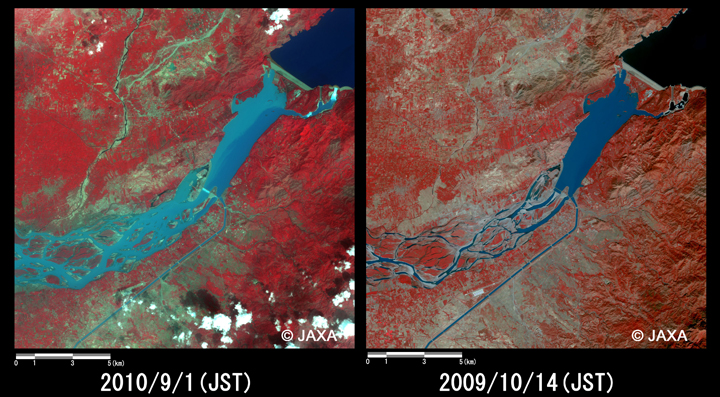 Fig.4: Enlarged images of the swollen rivers at Ghazi (324 square kilometers, left: September 1, 2010; right: October 14, 2009).